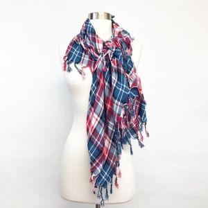 plaid red white blue boho scarf shawl